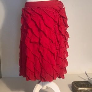 Anthropologie odille pink ruffle lace skirt